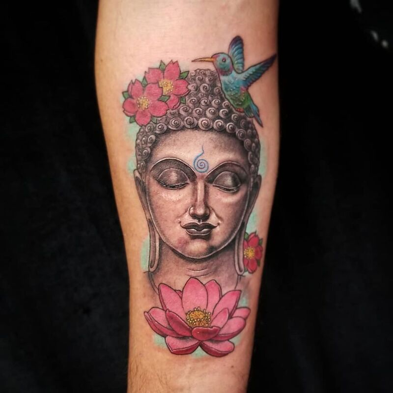 Buddha tattoo done at Overlord Tattoo Shop in Miami Beach
