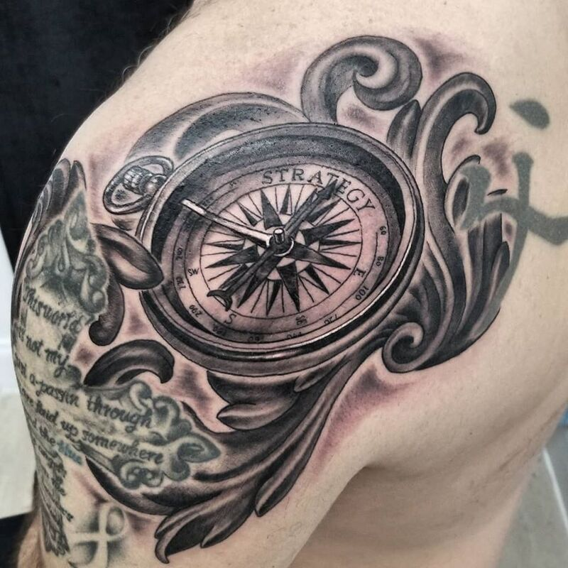 Compass tattoo done at Overlord Tattoo Shop in Miami Beach