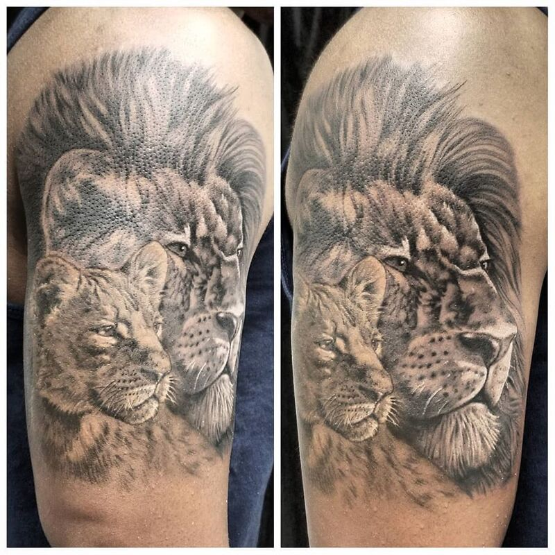Lion tattoo done at Overlord Tattoo Shop in Miami Beach