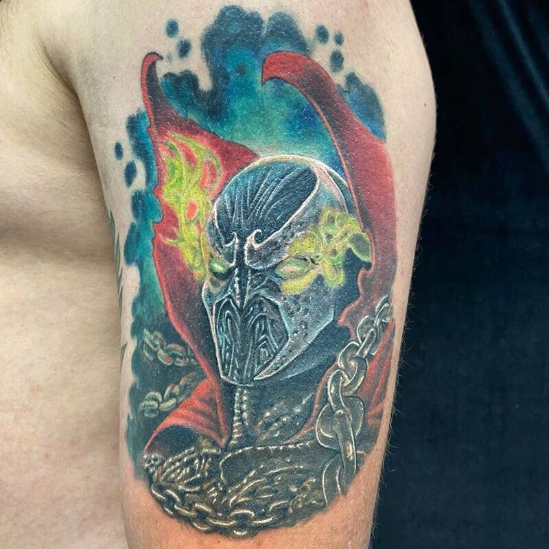Spawn tattoo done at Overlord Tattoo Shop in Miami Beach