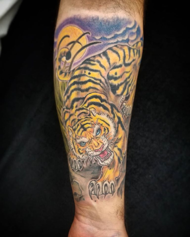 Tiger tattoo done at Overlord Tattoo Shop in Miami Beach